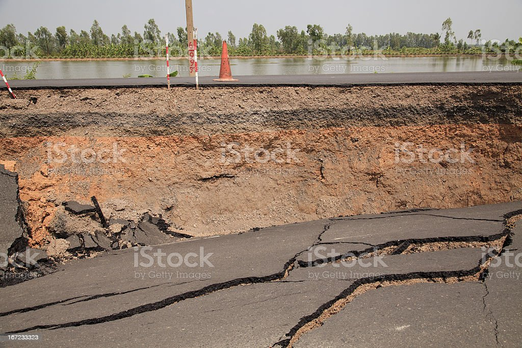 Layer of Cracked asphalt road royalty-free stock photo