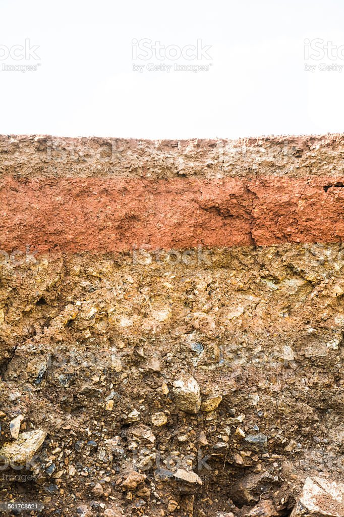 Layer of soil beneath stock photo