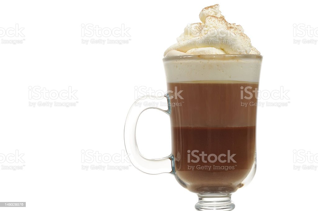 Layered Chocolate Cocktail with Whipped Cream in Glass royalty-free stock photo