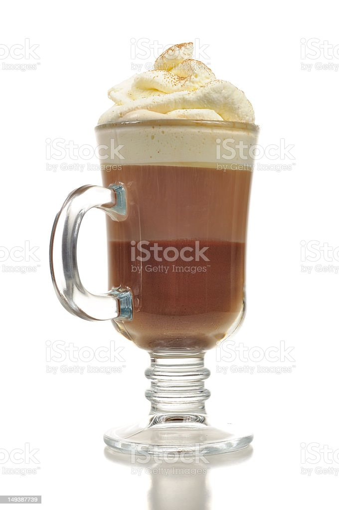 Layered Chocolate Cocktail with Whipped Cream in Glass stock photo