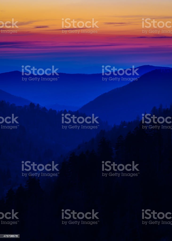 Layered Colors in the Smokies stock photo