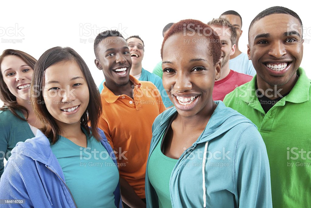 Layered group of diverse young adults on white background royalty-free stock photo