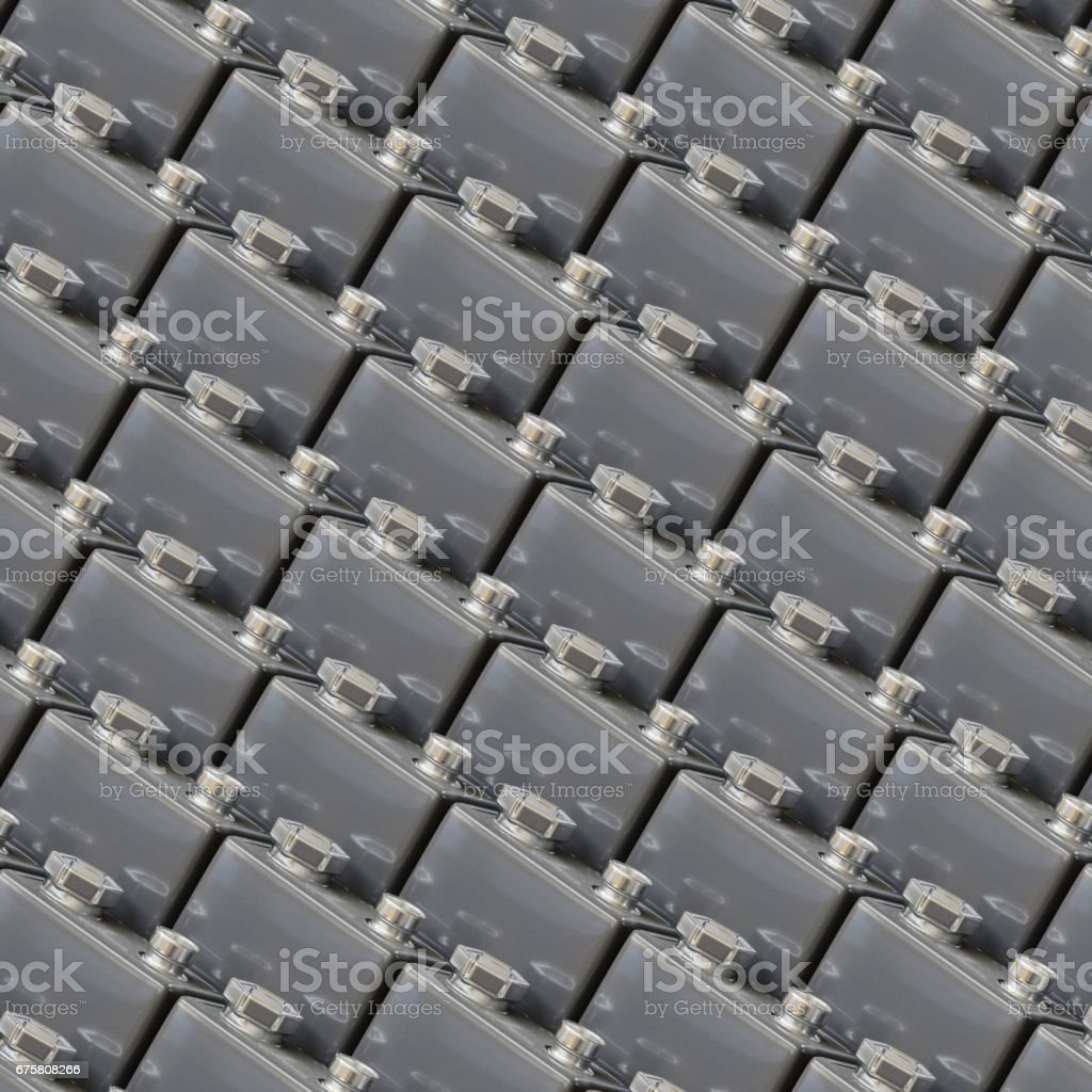 Layered Isometric Rows of Dark Grey 9volt Batteries stock photo