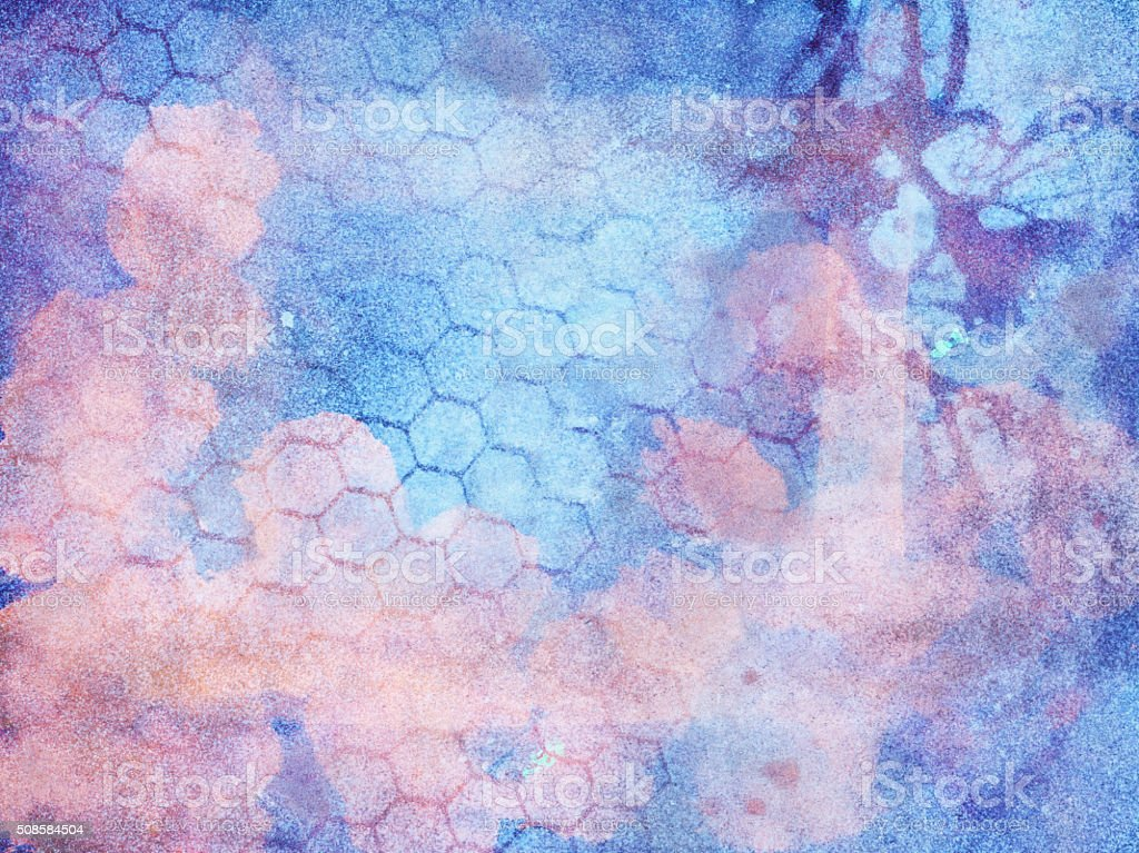 Layered pastel pink and blue hand painted textured background stock photo