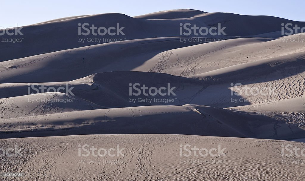 Layered Sand Dunes at Sunset, Great Sand Dunes National Monument stock photo