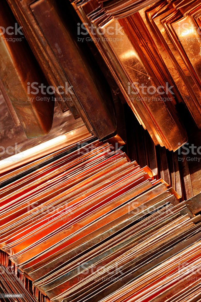 layered thin copper plates stock photo