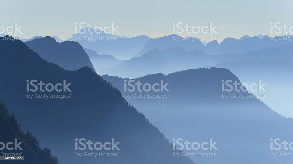 Layers of blue mountains royalty-free stock photo