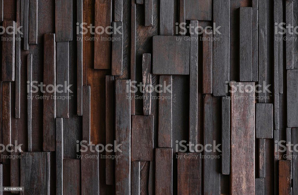 Layers of Dark Wood plank wall, hardwood wall pattern texture stock photo