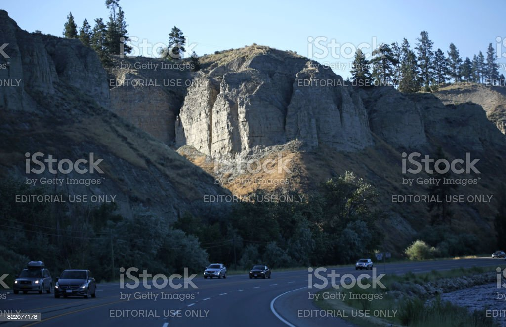 Layers of Glacial Lake Bed Sediment on Highway 97, Summerland, British Columbia, Canada stock photo