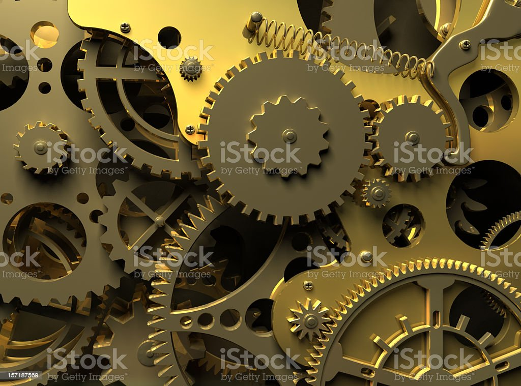 Layers of gold and steel gears royalty-free stock photo