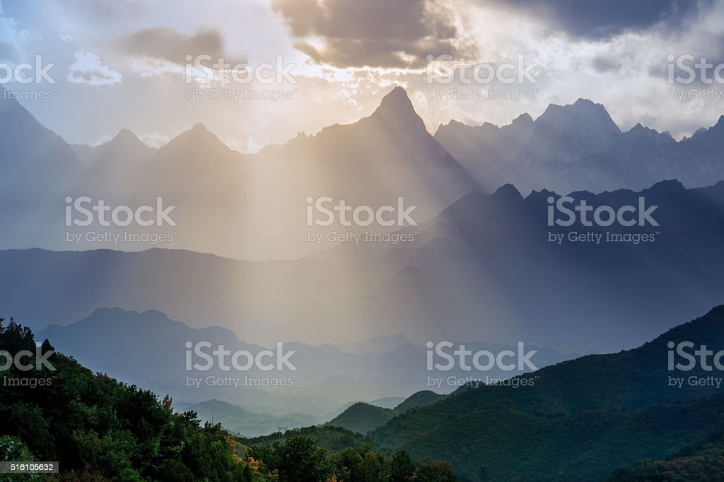 Layers of mountains and forests, in China's sichuan province stock photo
