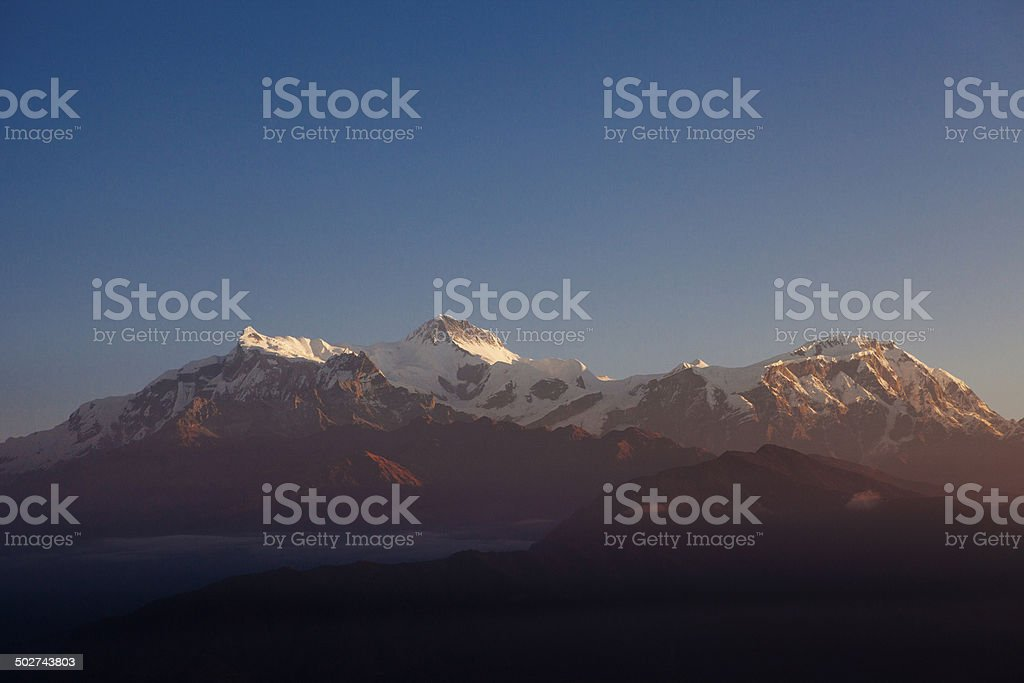 Layers of mountains, hills seen from Sarangkot, Pokhara. stock photo