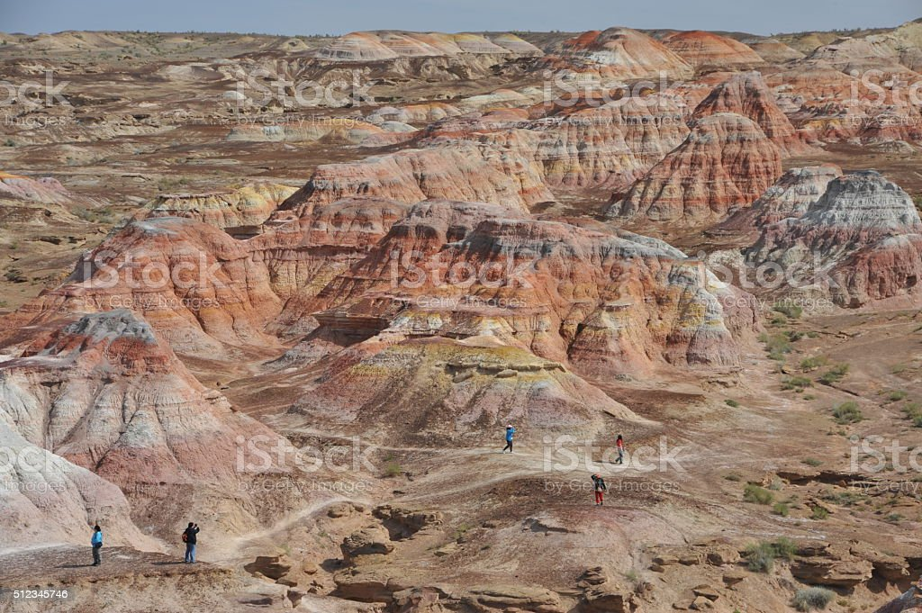 Layers of rainbow colour geological formation stock photo