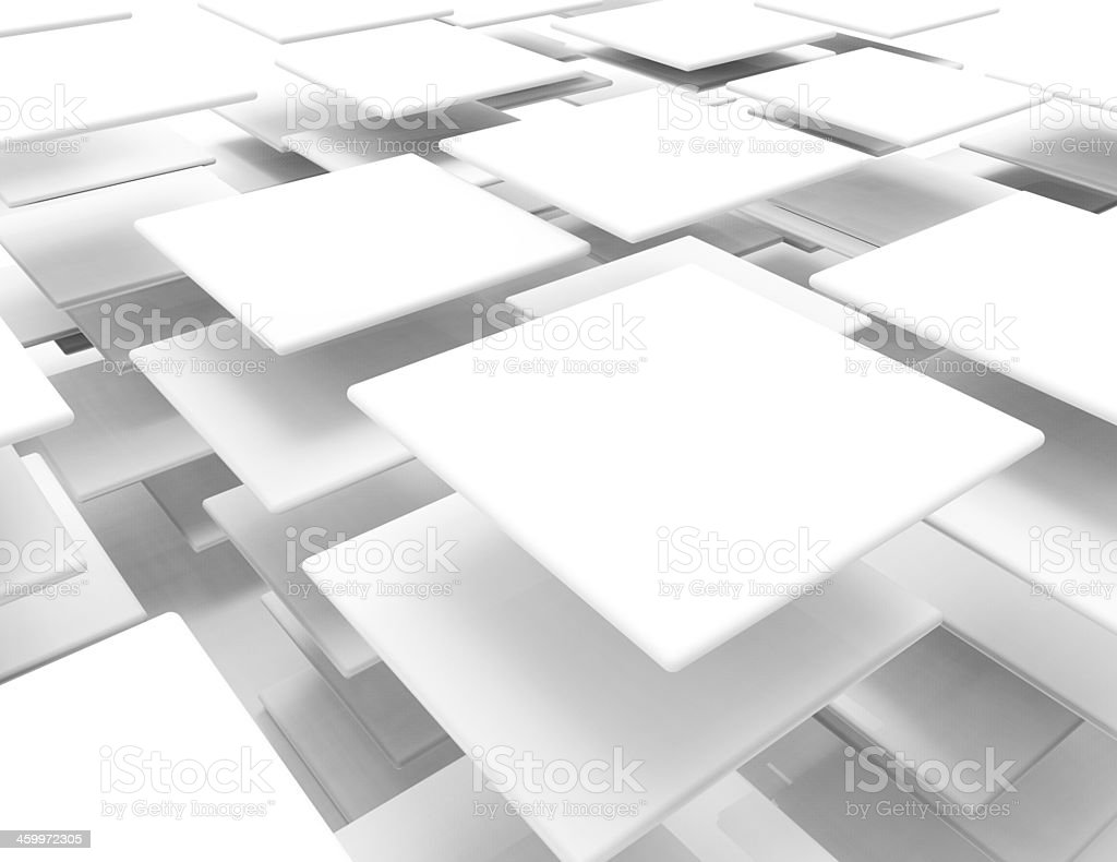 Layers of square paper tiles with drop shadow stock photo