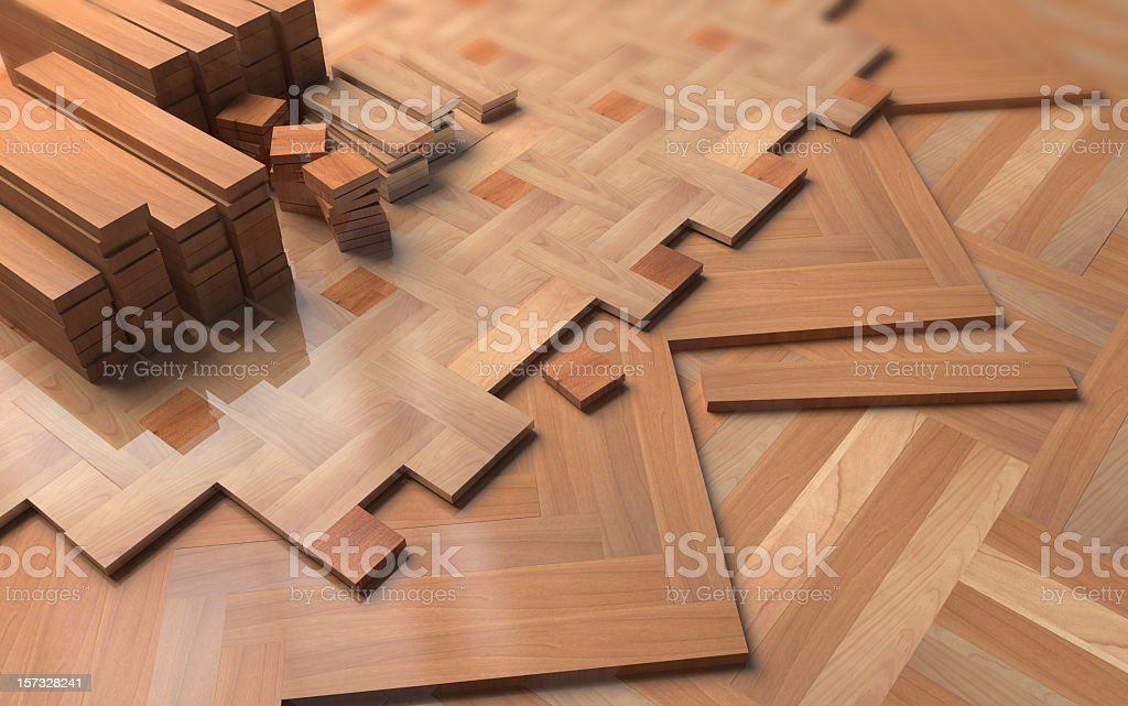 Layers of wooden floors in different patterns royalty-free stock photo