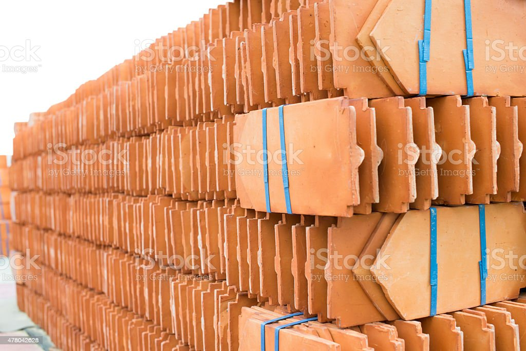 Laying ceramic tile stacked. shooting angle in obliquely royalty-free stock photo