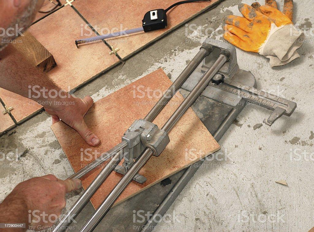 Laying Ceramic Tiles royalty-free stock photo
