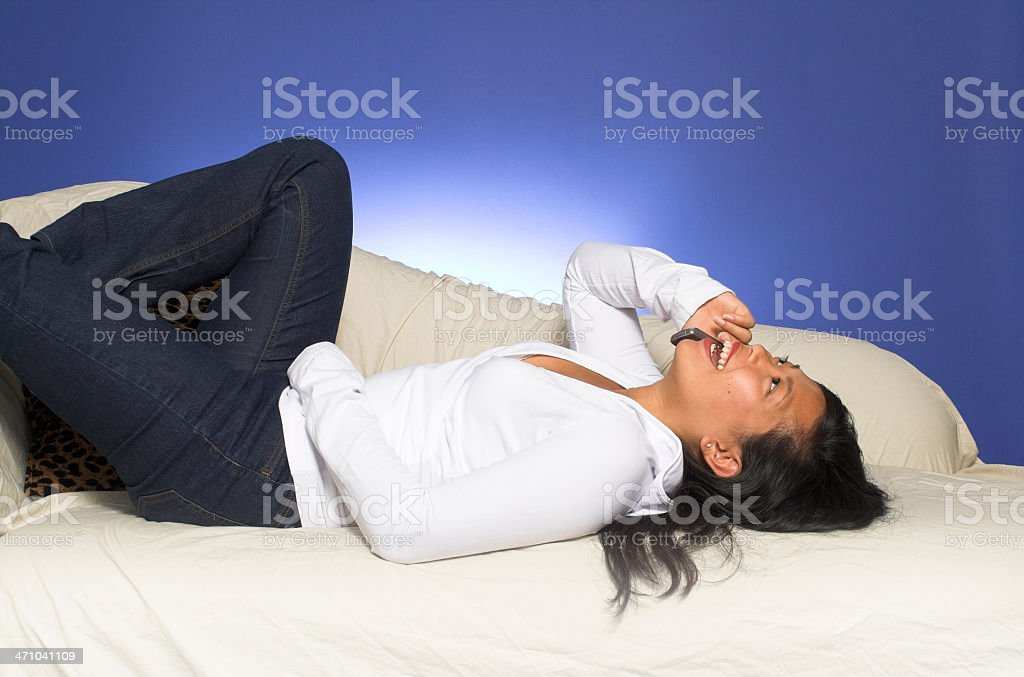 laying down on couch royalty-free stock photo
