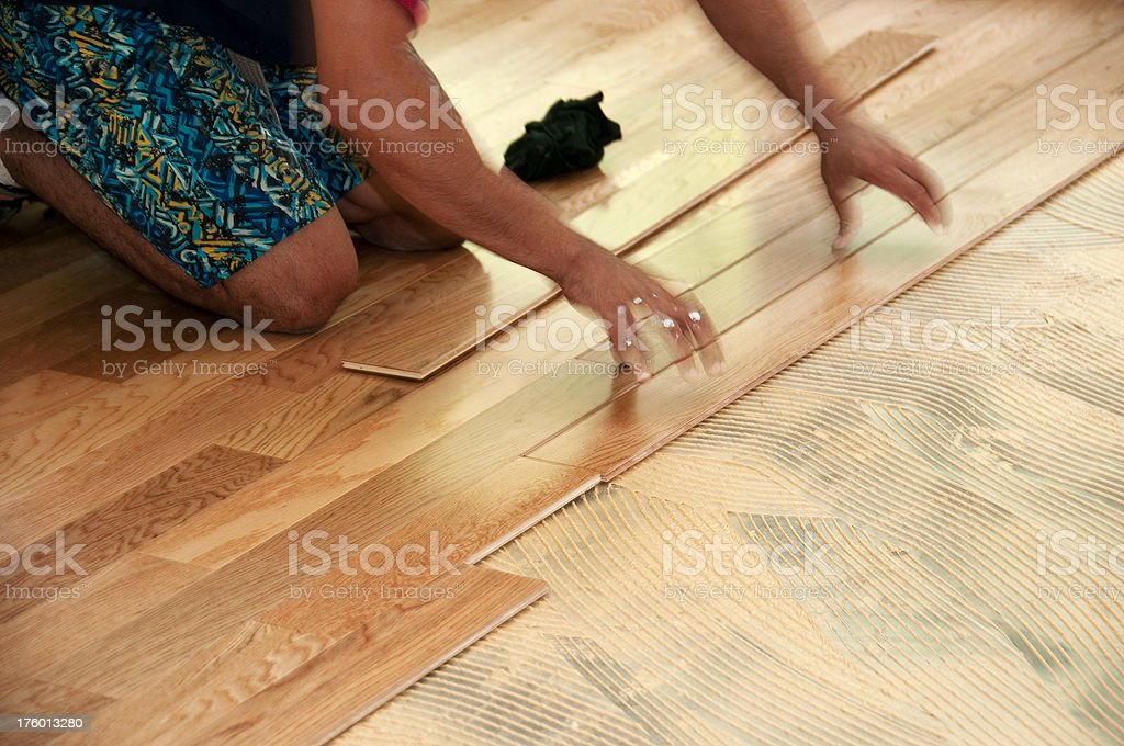 laying hardwood floor royalty-free stock photo