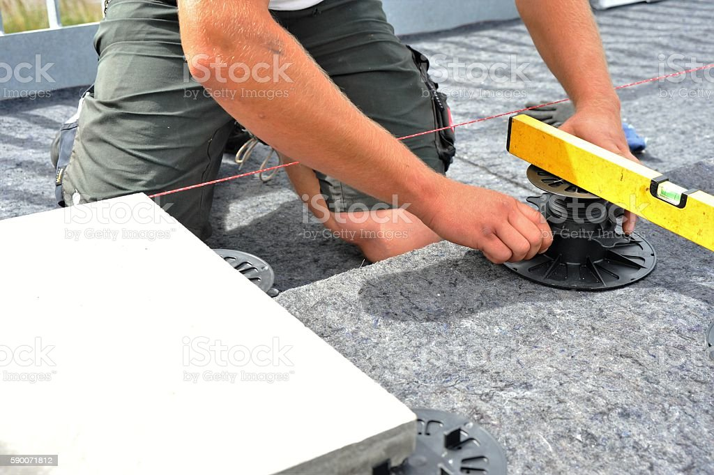 Laying of terrace boards stock photo