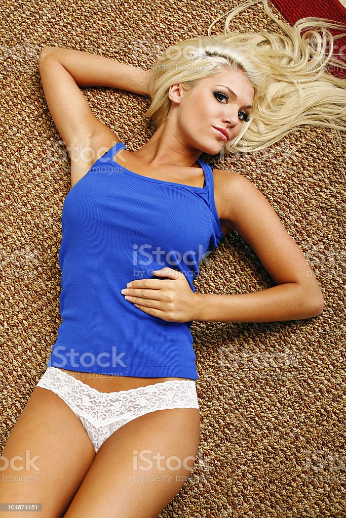 Laying on floor royalty-free stock photo