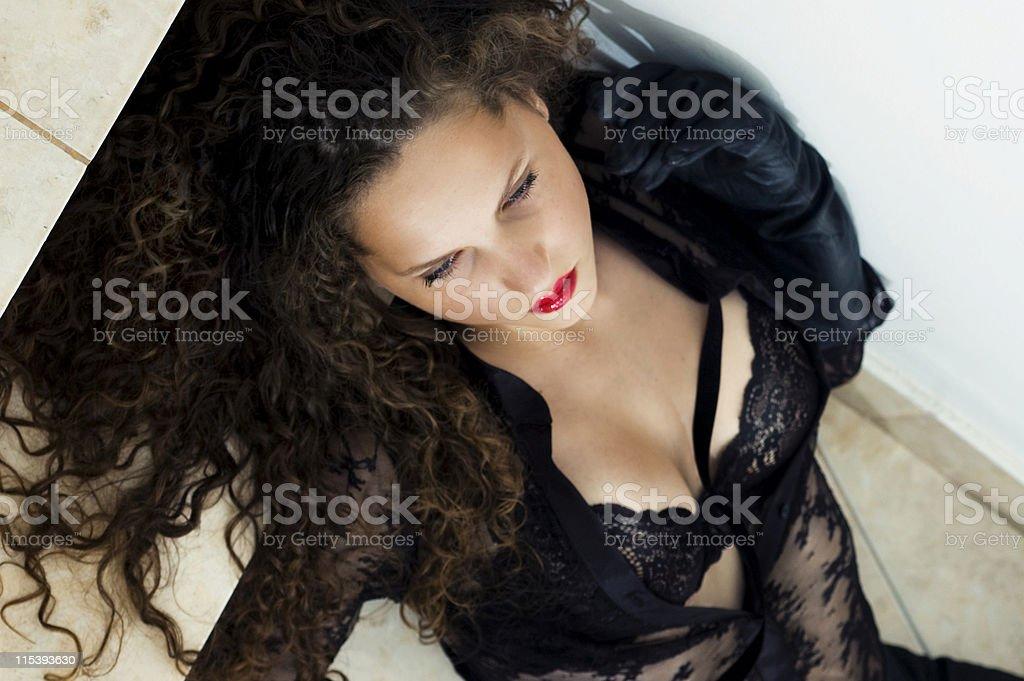 laying woman stock photo