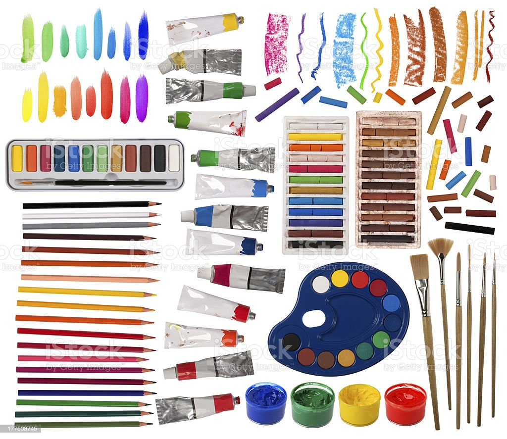A layout of artistic equipment stock photo