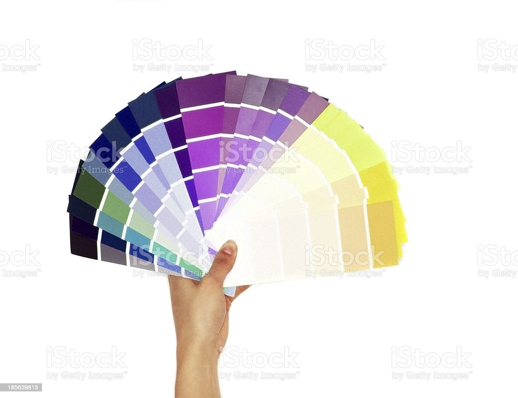 layout of colored paper on a white background stock photo