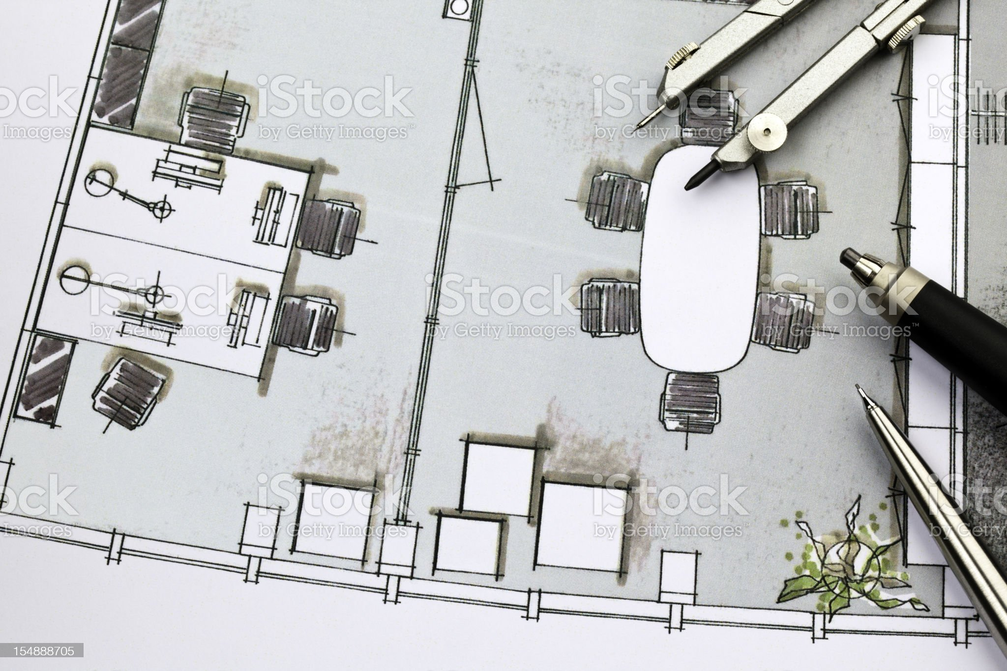Layout of office interior design royalty-free stock photo