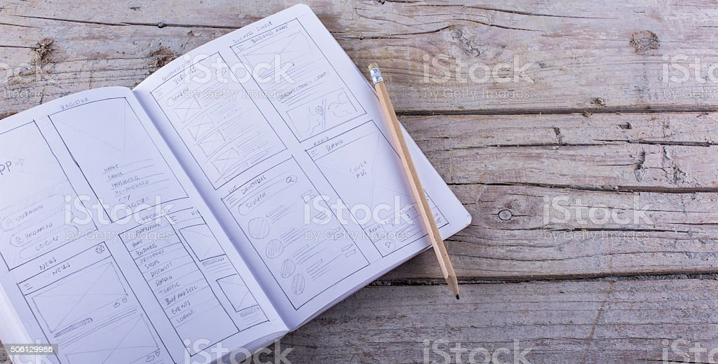 Layout sketch paper sketch app stock photo
