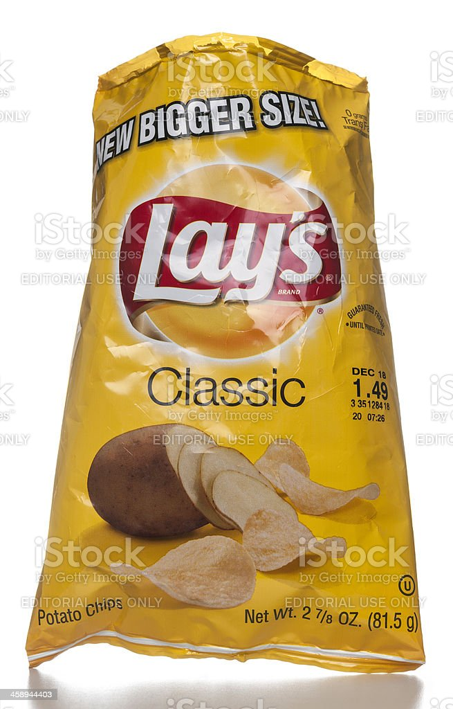 Lay's Classic Potato Chips open bag stock photo