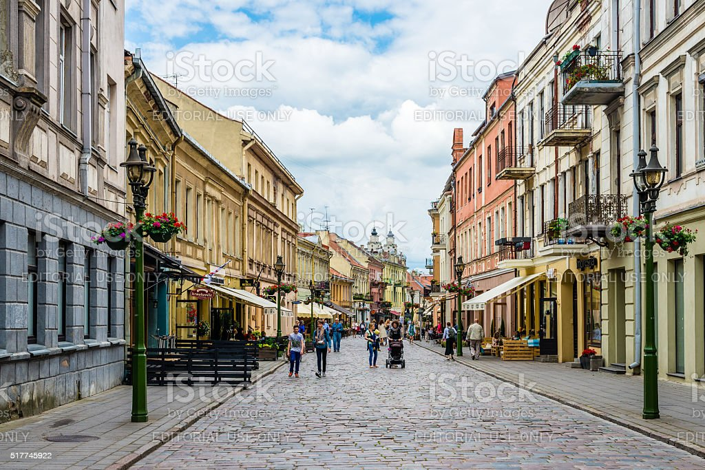 Laysves Avenue in Kaunas Old Town stock photo