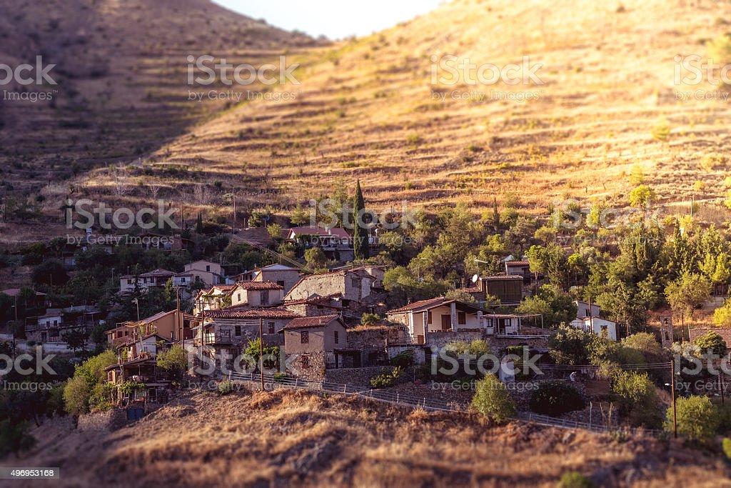 Lazanias, picturesque mountain village in the Nicosia District of Cyprus stock photo