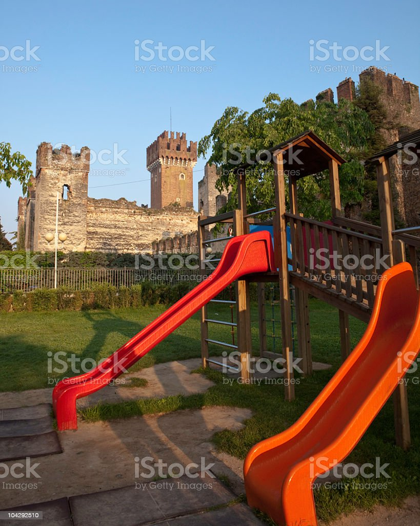 Lazise Castle with Playground on foreground. Lake Garda, Italy stock photo