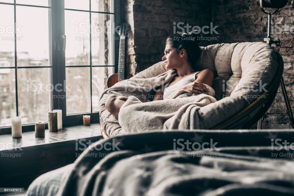 Lazy day at home. stock photo