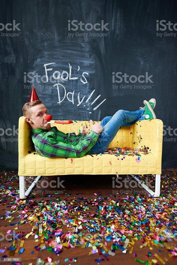 Lazy fool stock photo