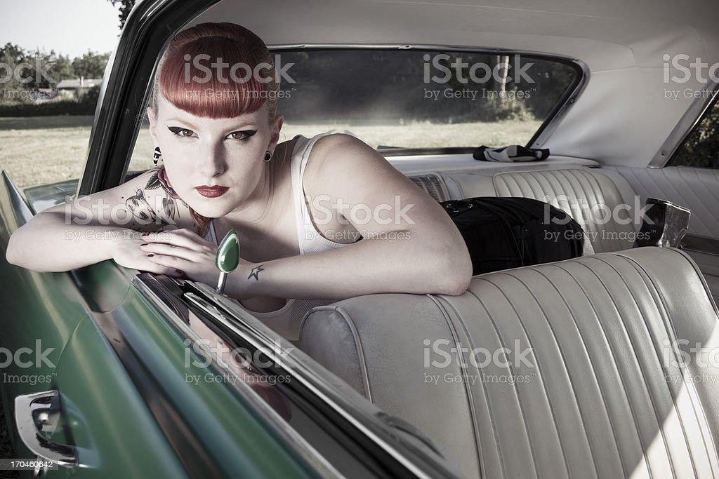 lazy pin-up girl stock photo
