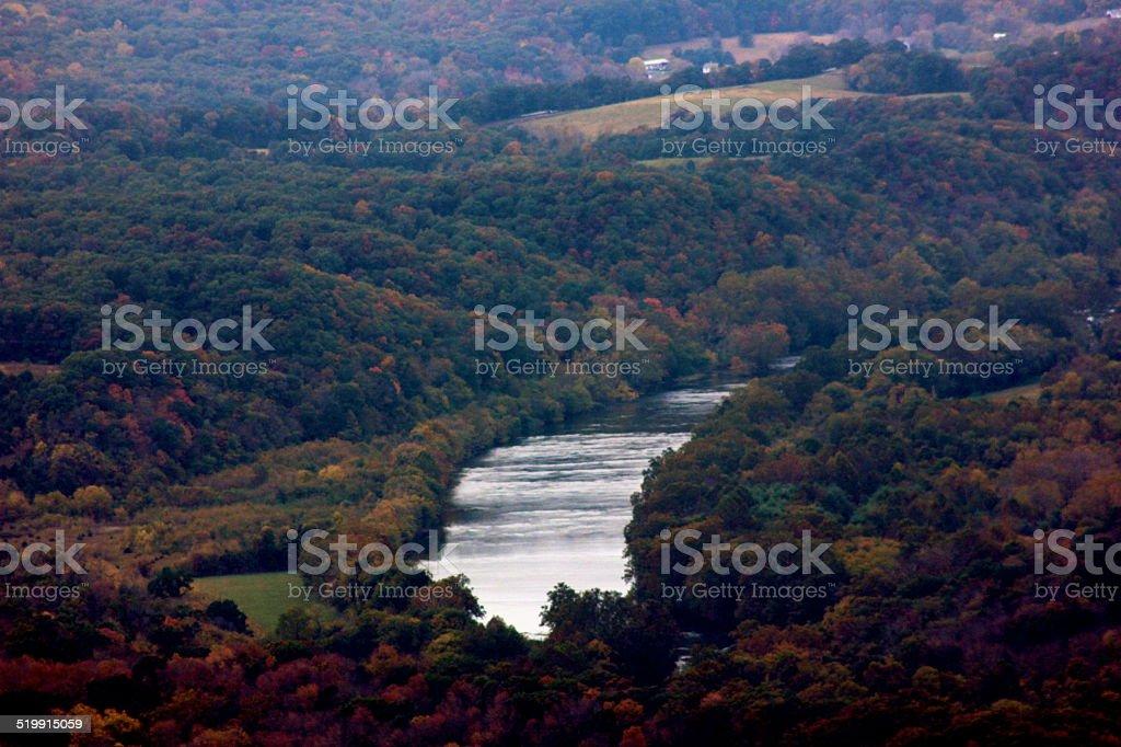 Lazy Shenandoah River in early Fall stock photo