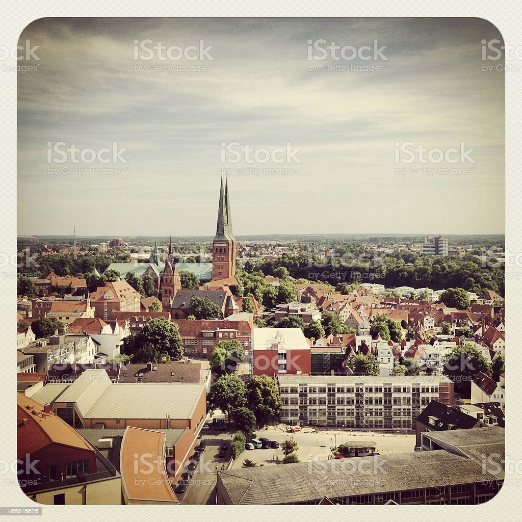L?beck Cityscape with cathedral stock photo