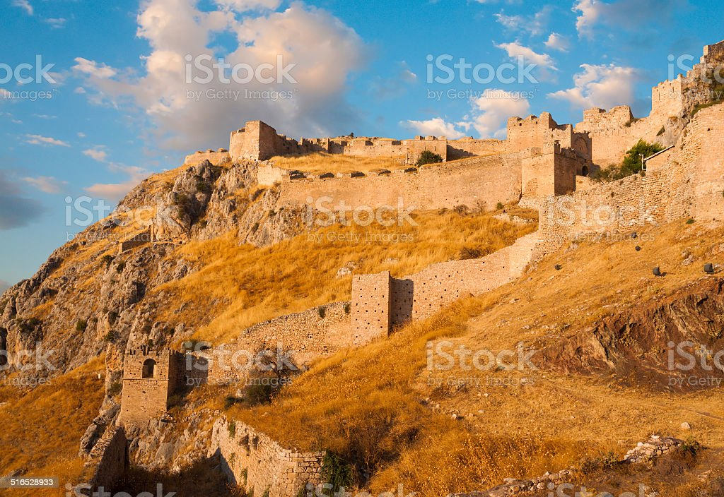 ld fortress, Acrocorinth,  of ancient Corinth at sunset stock photo