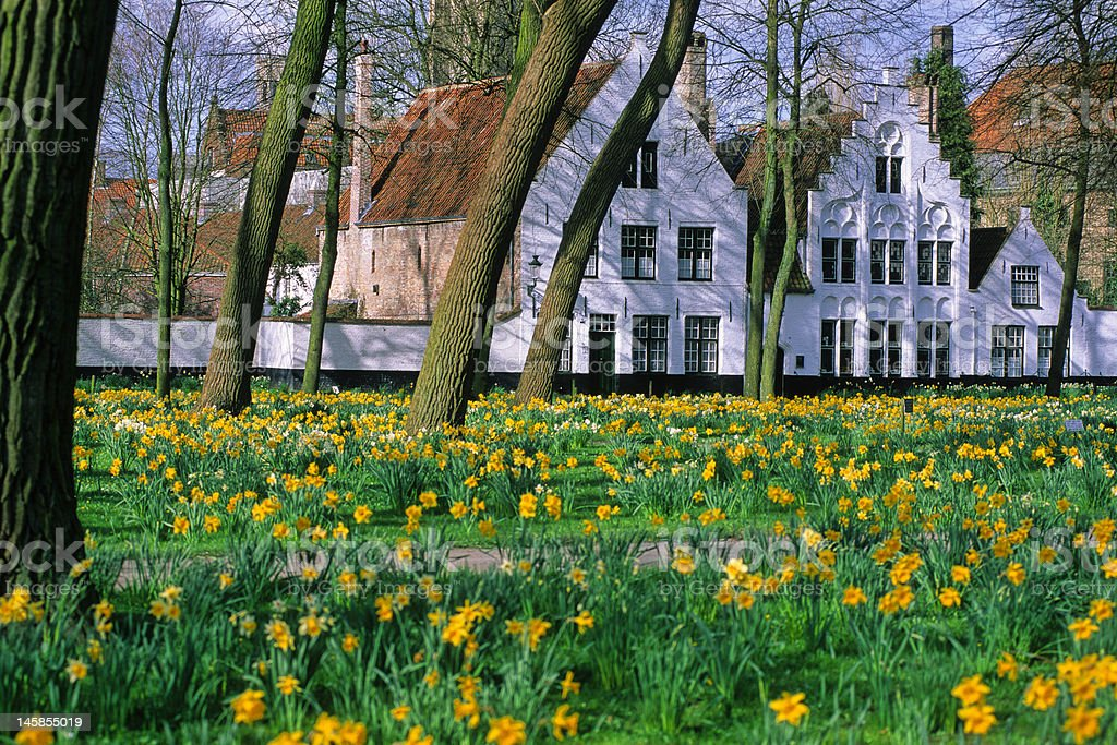le béguinage de Bruges stock photo