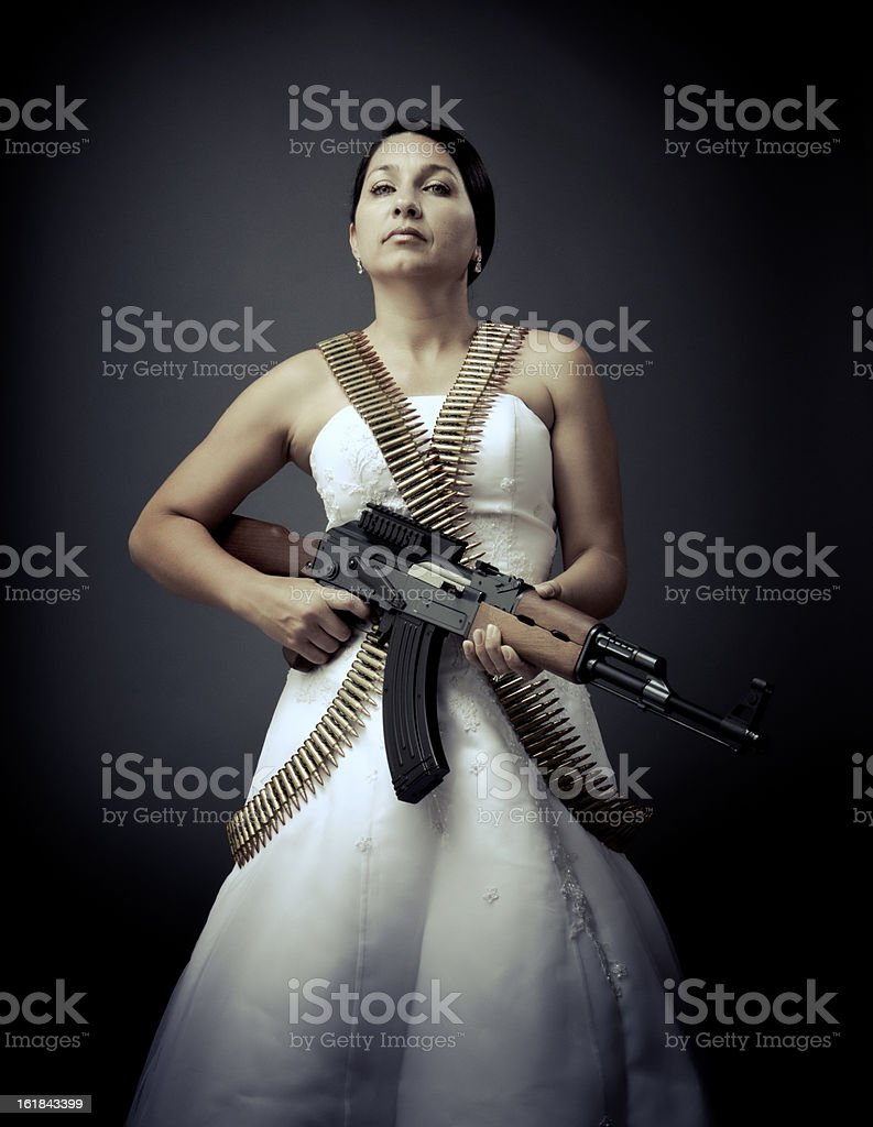 le bride fatale with an ak-47 stock photo