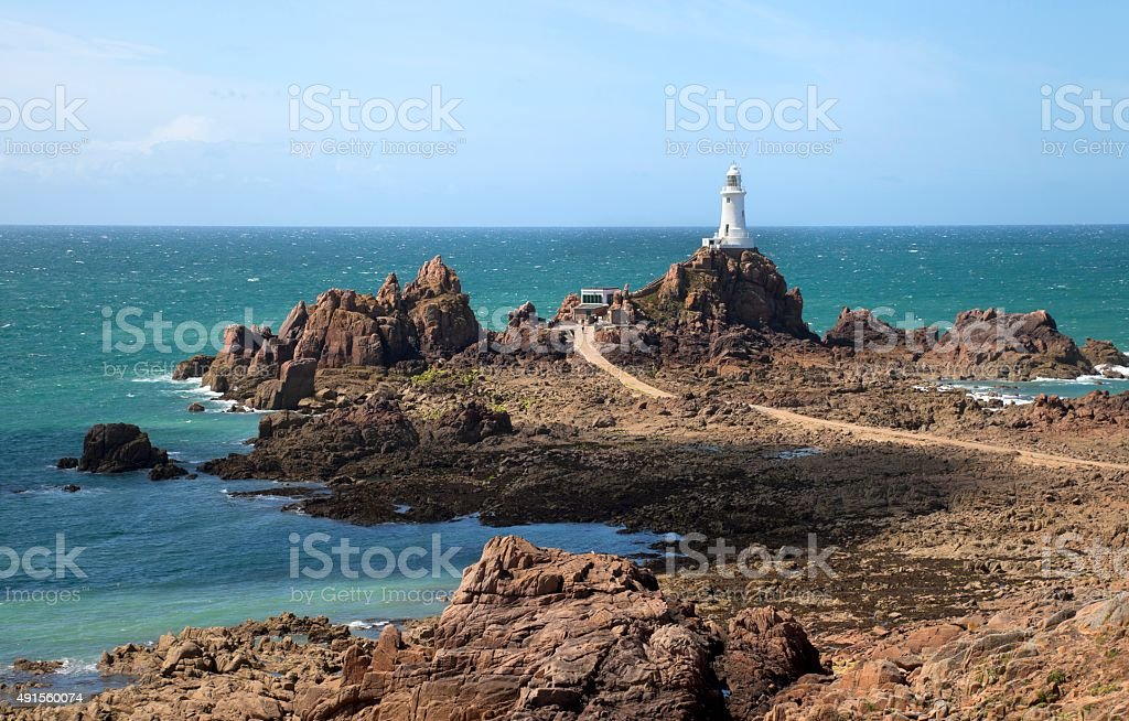 Le Corbiere Lighthouse, Jersey, Channel Islands stock photo