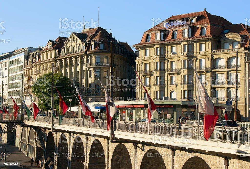 Le Flon district and Grand pont bridge with flags Lausanne stock photo