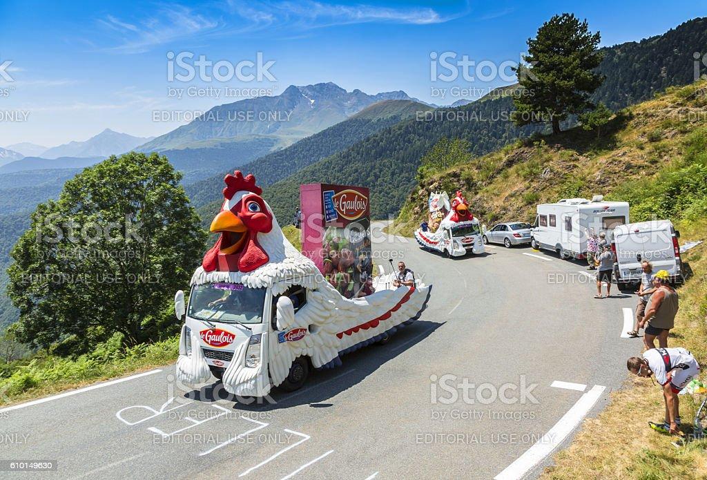 Le Gaulois Caravan in Mountains - Tour de France 2015 stock photo