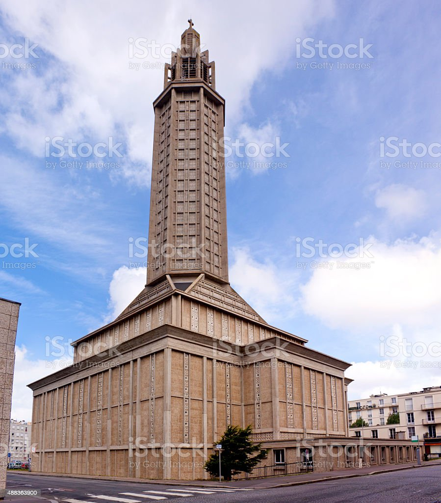 Le Havre Cathedral stock photo