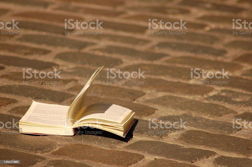 Le livre sur la route pavée stock photo