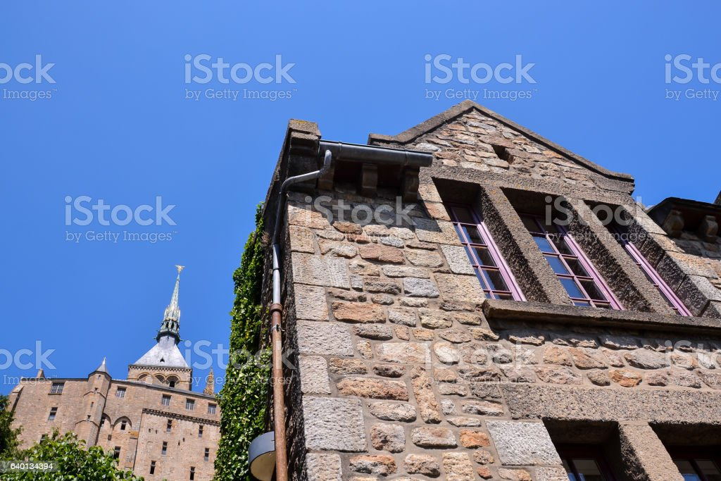 Le Mont Saint-Michel tidal island Normandy northern France stock photo