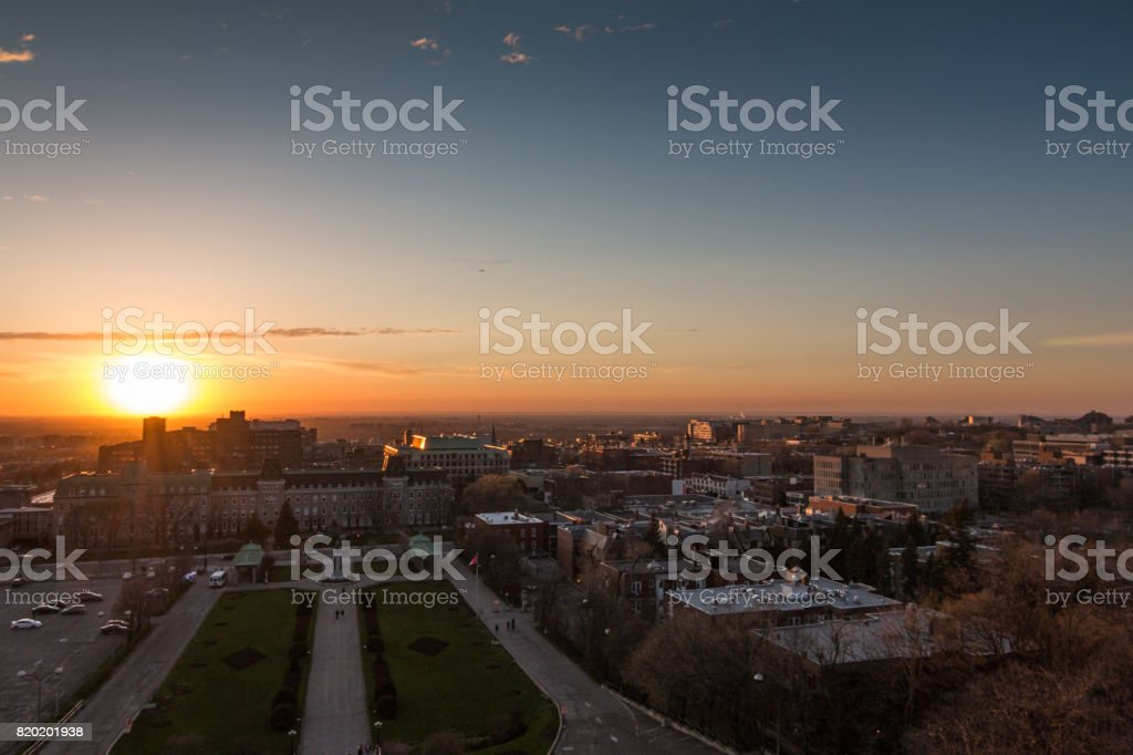 Le Plateau-Mont-Royal Of  Montreal At Sunset stock photo