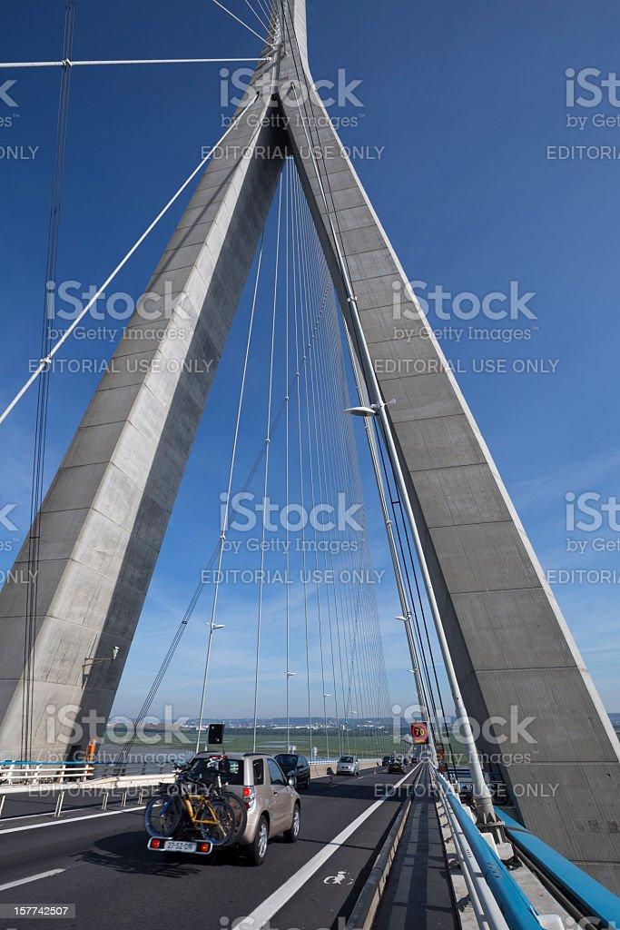 Le Pont de Normandie (Normandy Bridge) stock photo